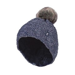 Heat Holders Ladies turnover cable hat with pom pom navy (1 stuks)