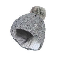 Heat Holders Ladies turnover cable hat with pom pom light grey (1 stuks)