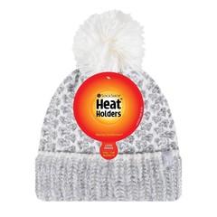 Heat Holders Ladies feathered knit pom pom hat lund grey/cream (1 stuks)