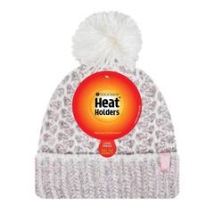 Heat Holders Ladies feathered knit pom pom hat lund coral/cream (1 stuks)