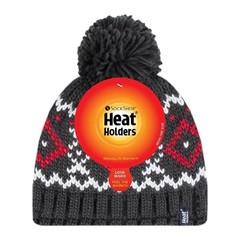 Heat Holders Mens pom pom hat Helsinki charcloal/red (1 stuks)