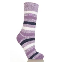 Heat Holders Ladies fashion twist socks 4-8 mulberry (1 paar)