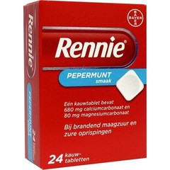 Rennie Rennie pepermunt (24 kauwtabletten)
