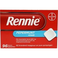 Rennie Rennie pepermunt (96 kauwtabletten)