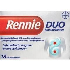 Rennie Rennie duo (18 tabletten)