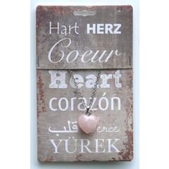 Steengoed Edelsteen hart & collier roze kwarts (1 stuks)