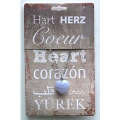 Steengoed Edelsteen hart & collier chalcedoon (1 stuks)