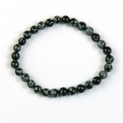 Steengoed Armband 6 mm kraal obsidiaan sneeuwvlok (1 stuks)