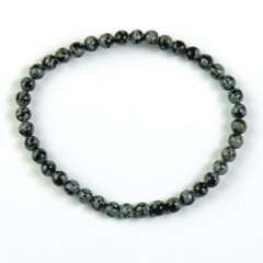 Steengoed Armband 4 mm kraal obsidiaan sneeuwvlok (1 stuks)