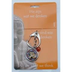 Steengoed Boeddha sleutelhanger ohm teken (1 stuks)