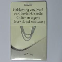 Steengoed Collier verzilverd 42 cm (1 stuks)
