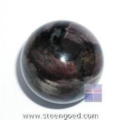 Steengoed Bol 35 mm jaspis zilverblad (1 stuks)