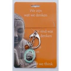 Steengoed Boeddha sleutelhanger hoofd (1 stuks)