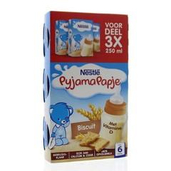 Nestle Pyjamapapje biscuit 250 ml (3 stuks)