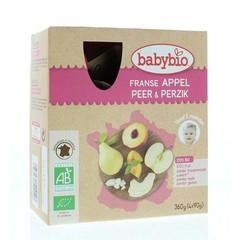 Babybio Vruchtenmoes appel peer perzik 90 gram (4 stuks)