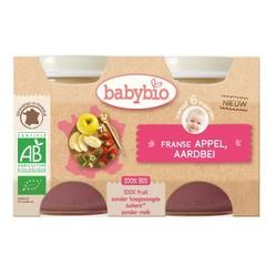 Babybio Dessert appel aardbei 130 gram (2 stuks)