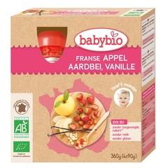 Babybio Appel aardbei vanille 90 gram (4 stuks)