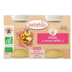 Babybio Dessert appel perzik 130 gram (2 stuks)