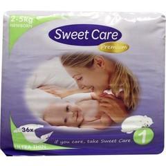Sweetcare Premium newborn maat 1 2-5kg (36 stuks)
