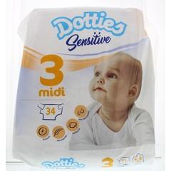 Dotties Sensitive baby luiers midi 3 (34 stuks)