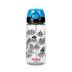 Nuby Beker zacht rietje drukknop blauw 530 ml 3 jr+ (1 stuks)