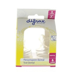 Difrax Flesspeen dental large (2 stuks)