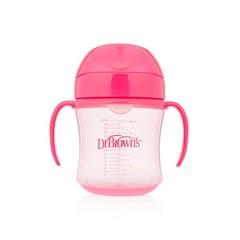 Dr Brown's Drinkbeker roze 180 ml zachte tuit (1 stuks)