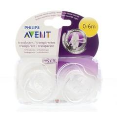 Avent Fopspeen 0-6M transparant BPA (2 stuks)