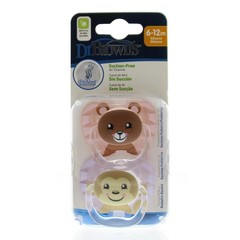 Dr Brown's Fopspeen prevent animal faces F2 roze (2 stuks)