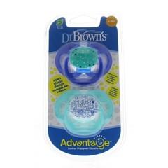 Dr Brown's Fopspeen advantage fase 2 blauw (2 stuks)