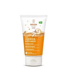 Weleda Kids 2 in 1 shampoo & body wash blije sinaasappel (150 ml)