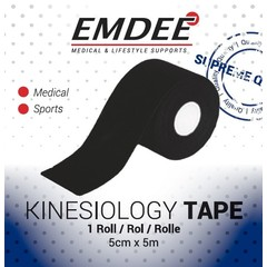Emdee Kinesio tape zwart non cut (1 rol)