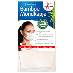 Lucovitaal Mondkapje bamboe wit (1 stuks)