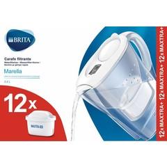 Brita Waterfilterbundel Marella cool white + 12 filters (1 stuks)