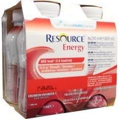Resource Energy aardbei framboos 200 ml (4 stuks)