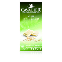 Cavalier Chocolade white rice crisp gezoet met stevia (85 gram)