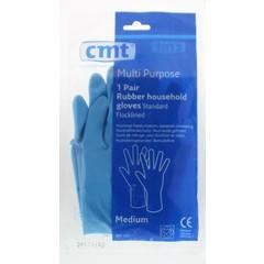 CMT Huishoudhandschoen rubber blauw M (1 paar)