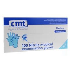 CMT Onderzoekshandschoen nitriel blauw poedervrij M (100 stuks)