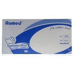 Romed Latex handschoen niet steriel gepoederd M (100 stuks)