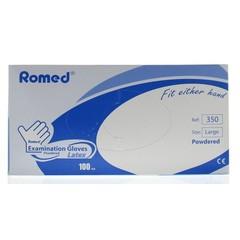 Romed Latex handschoen niet steriel gepoederd L (100 stuks)