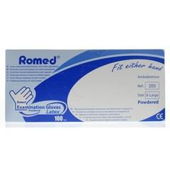 Romed Latex handschoen niet steriel gepoederd XL (100 stuks)