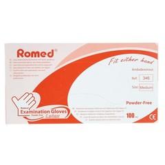 Romed Latex handschoen niet steriel poedervrij M (100 stuks)