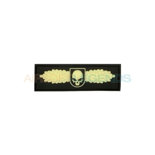 JTG JTG Winged Skull Rubber Patch Glow in the dark