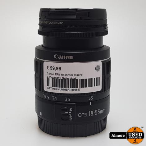 Canon EFS 18-55mm macro 0.25m/0.8ft | Nette staat