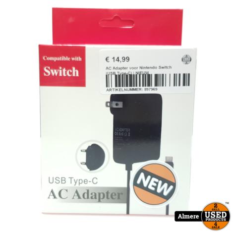 AC Adapter voor Nintendo Switch (USB Type-C) | NIEUW
