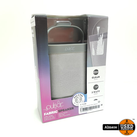 Pulsar Fabric Speaker Grijs | Nieuw in doos