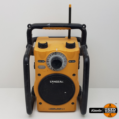 Sangean U1 Bouwradio FM, AM AUX Spatwaterbestendig, Stofvast, Zaklamp Geel, Zwart