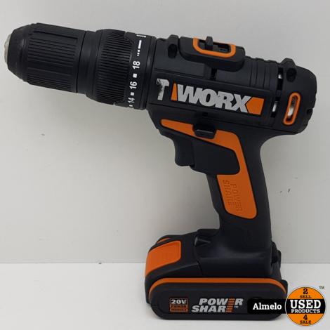 Set Worx WX371.3 Accuboor 20v en Worx WX800.9 Haakse slijper 20v, met bon 22 Oktober