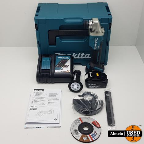 Makita DGA504ZJ type II 18V 125MM Accu Haakse Slijper met 1x 5.0Ah accu en acculader *Neuw*