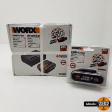 Worx Worx accu set WA3609 4.0Ah li-Ion en 2.0Ah Li-Ion en 16/20v 6.0Ah Lader *Nieuw Geseald*